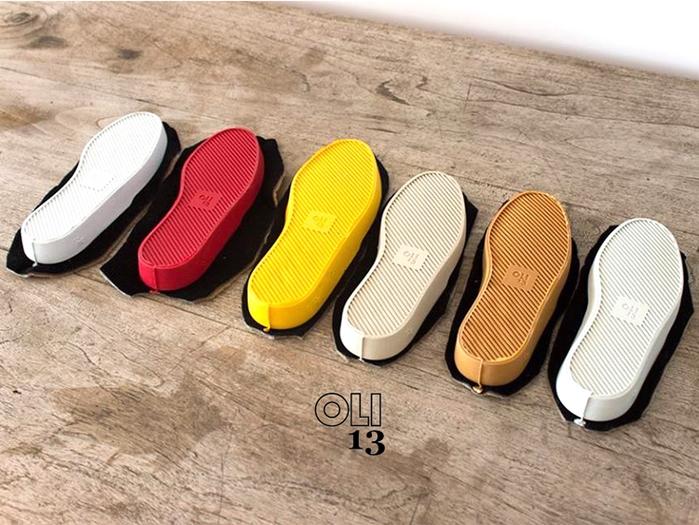Oli13|西班牙手工帆布鞋.牛津鞋 - 藍/白