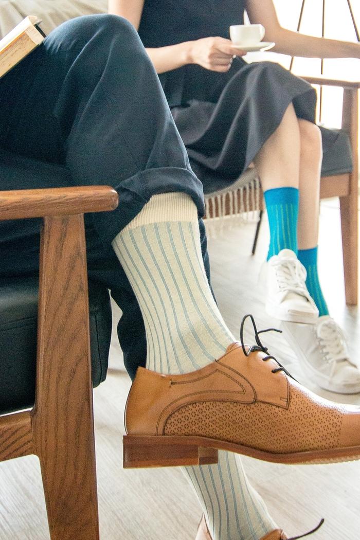 Leeds weather|機能美學羅紋襪 Polygiene®乾燥感.消臭抑菌 / 跳色款 - 米白x粉藍 /
