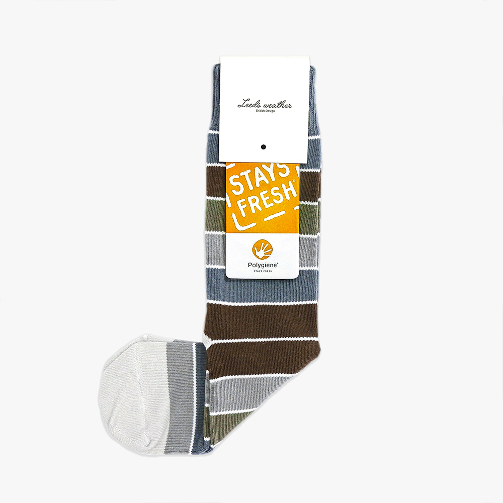 Leeds weather|四季襪款 Polygiene®消臭抑菌襪 / 群灰-群褐條紋