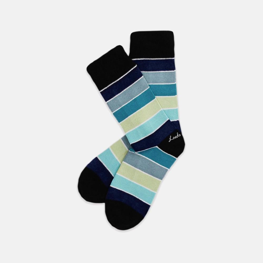 Leeds weather 四季襪款 Polygiene®消臭抑菌襪/ 群藍色系條紋