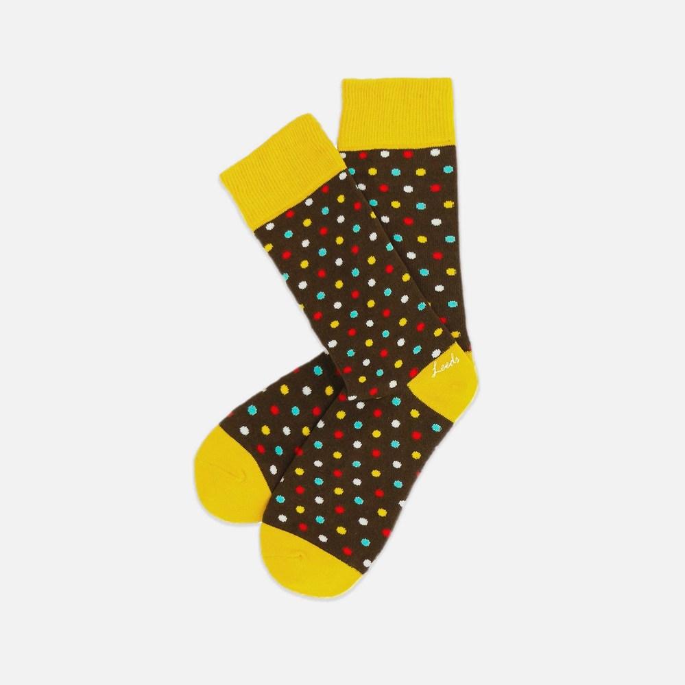 Leeds weather 四季襪款 Polygiene®消臭抑菌襪 / 椰褐彩色點點