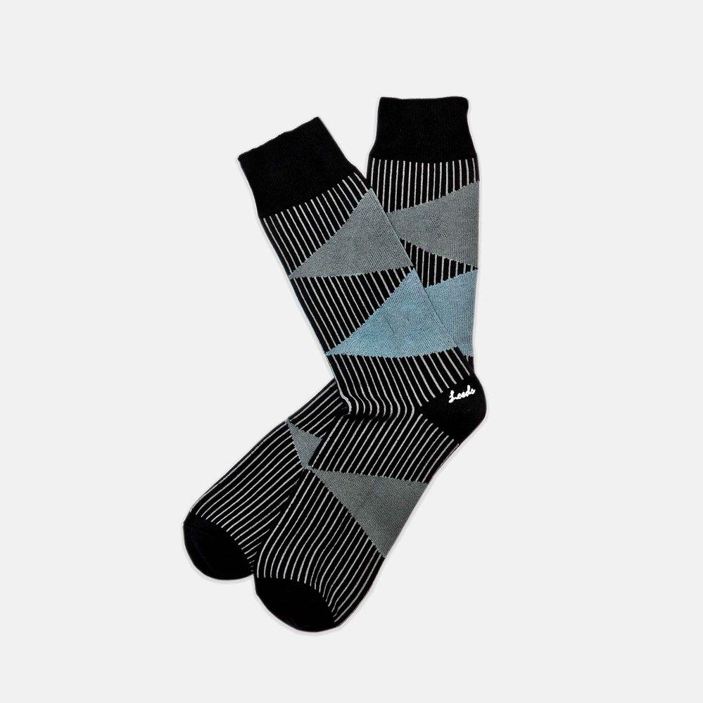 Leeds weather|四季襪款 Polygiene®消臭抑菌襪 / 黑灰銅青幾何