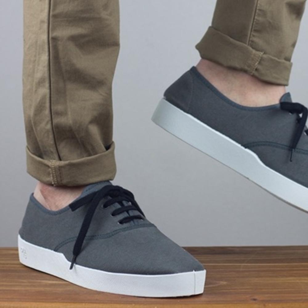 Oli13|西班牙手工帆布鞋.牛津鞋 - 石墨灰/白