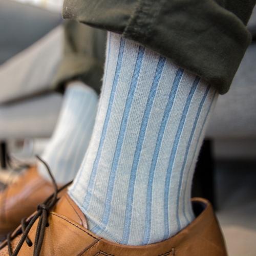 Leeds weather|機能美學羅紋襪 Polygiene®乾燥感.消臭抑菌 / 跳色款 - 米白x粉藍 / 23-28cm
