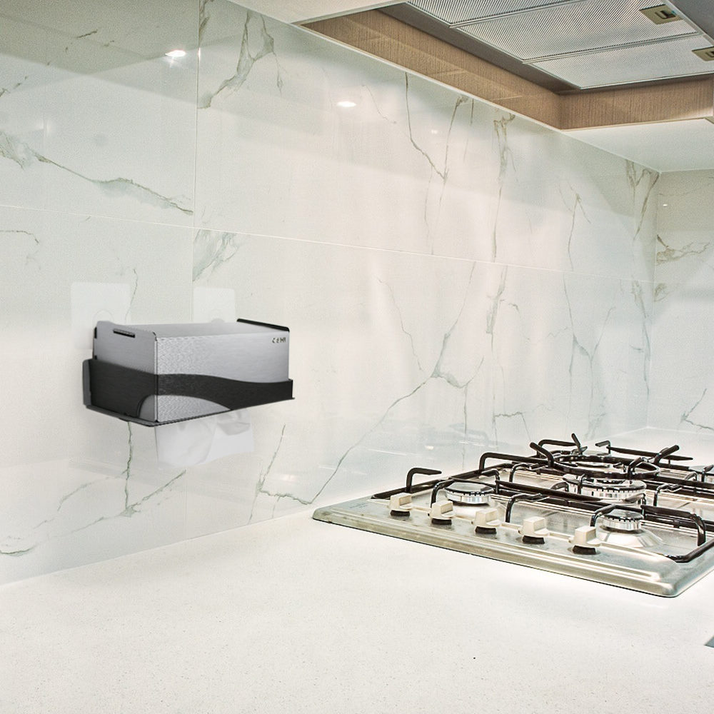 OSHI|新版Box Plus+面紙盒架-銀黑色(大)
