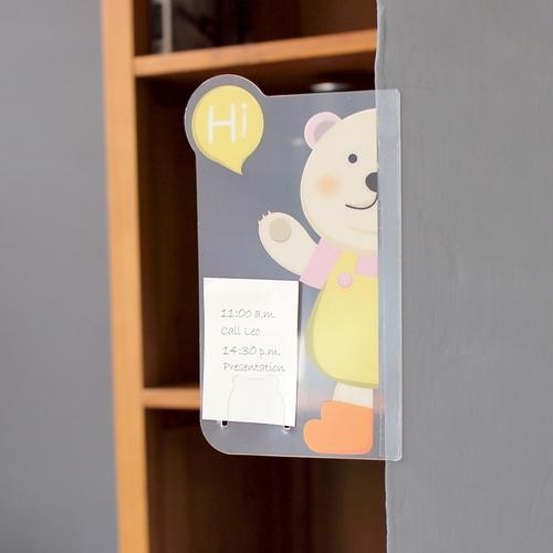 OSHI|螢幕側邊直立留言板-小熊(單邊)