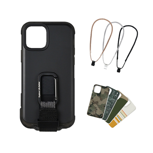 bitplay iPhone 12 mini-WanderCase 探險家全配套組(風格掛繩)-黑