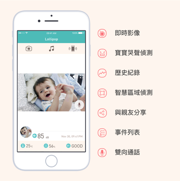 Lollipop|Smart Baby Camera智慧型幼兒監視器(棉花糖粉)