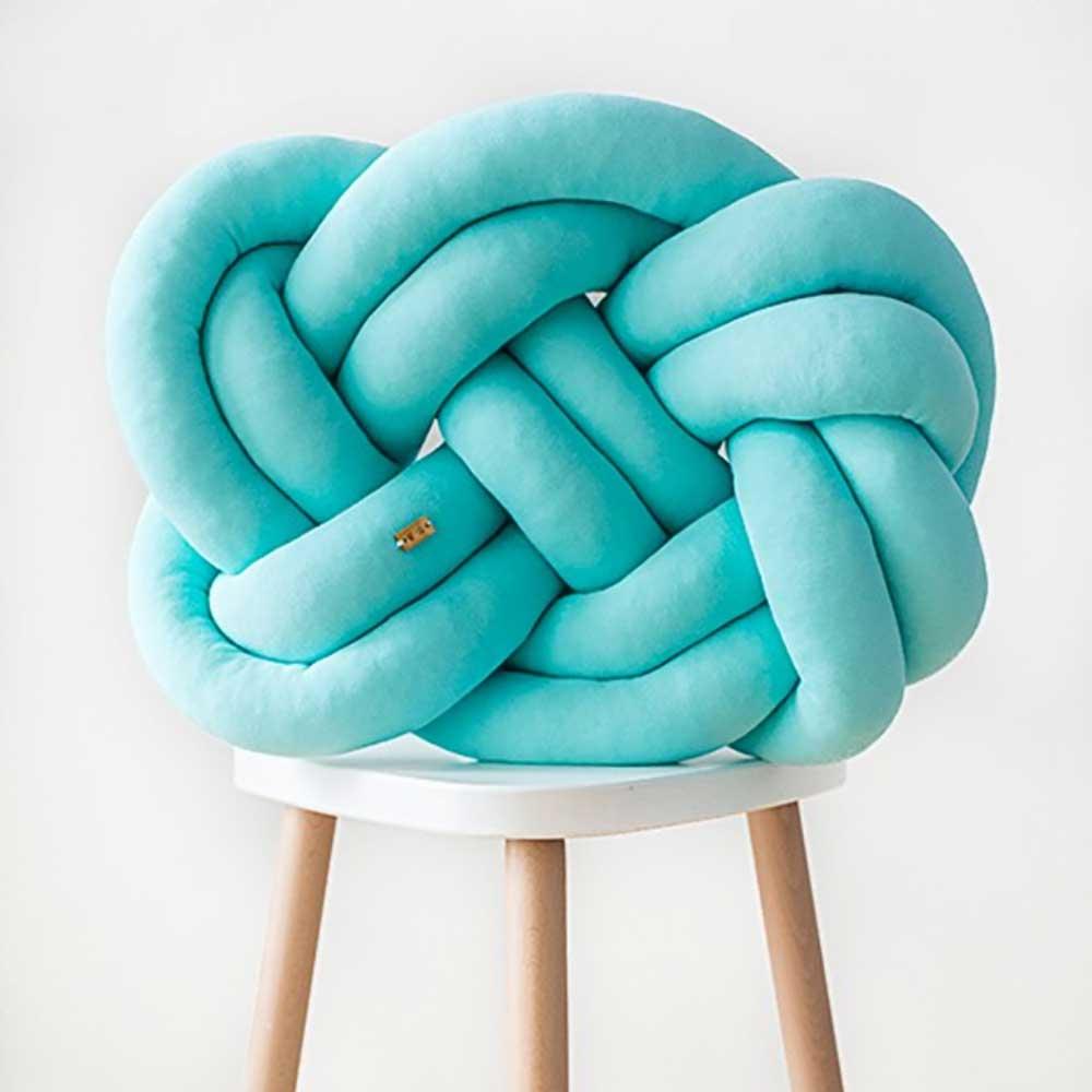 Wood'n'Wool|波蘭纏繞抱枕 - 經典款(土耳其藍)