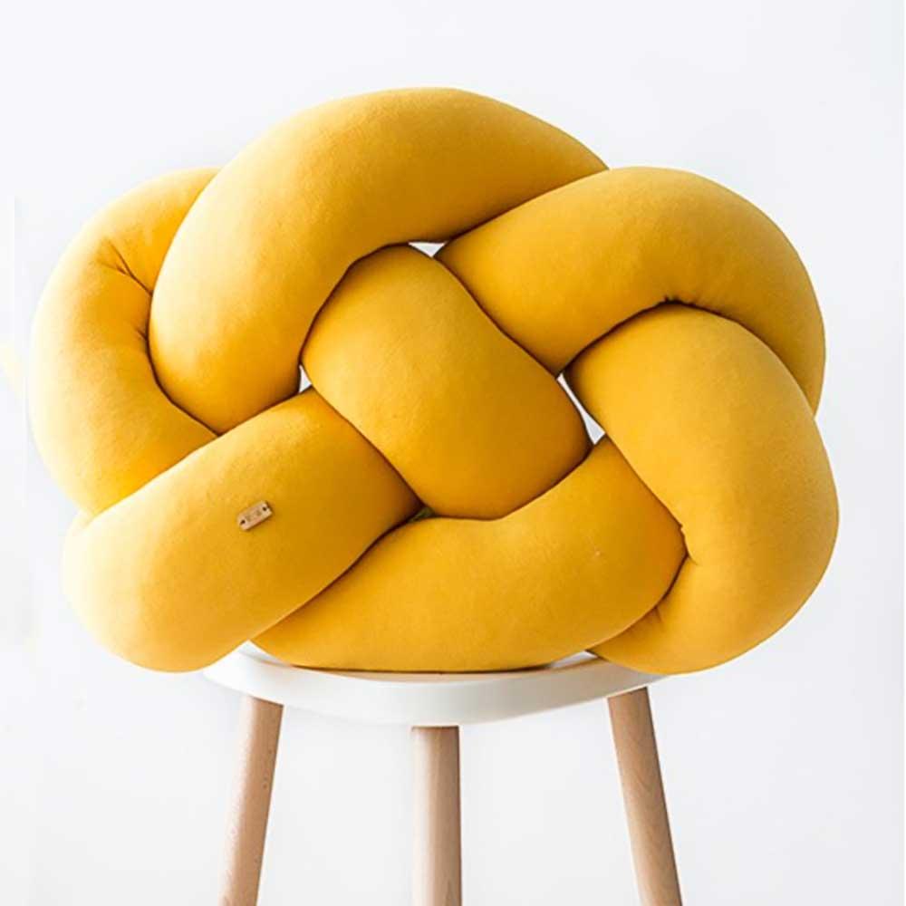 Wood'n'Wool|波蘭纏繞抱枕 - 胖胖款(芒果黃)