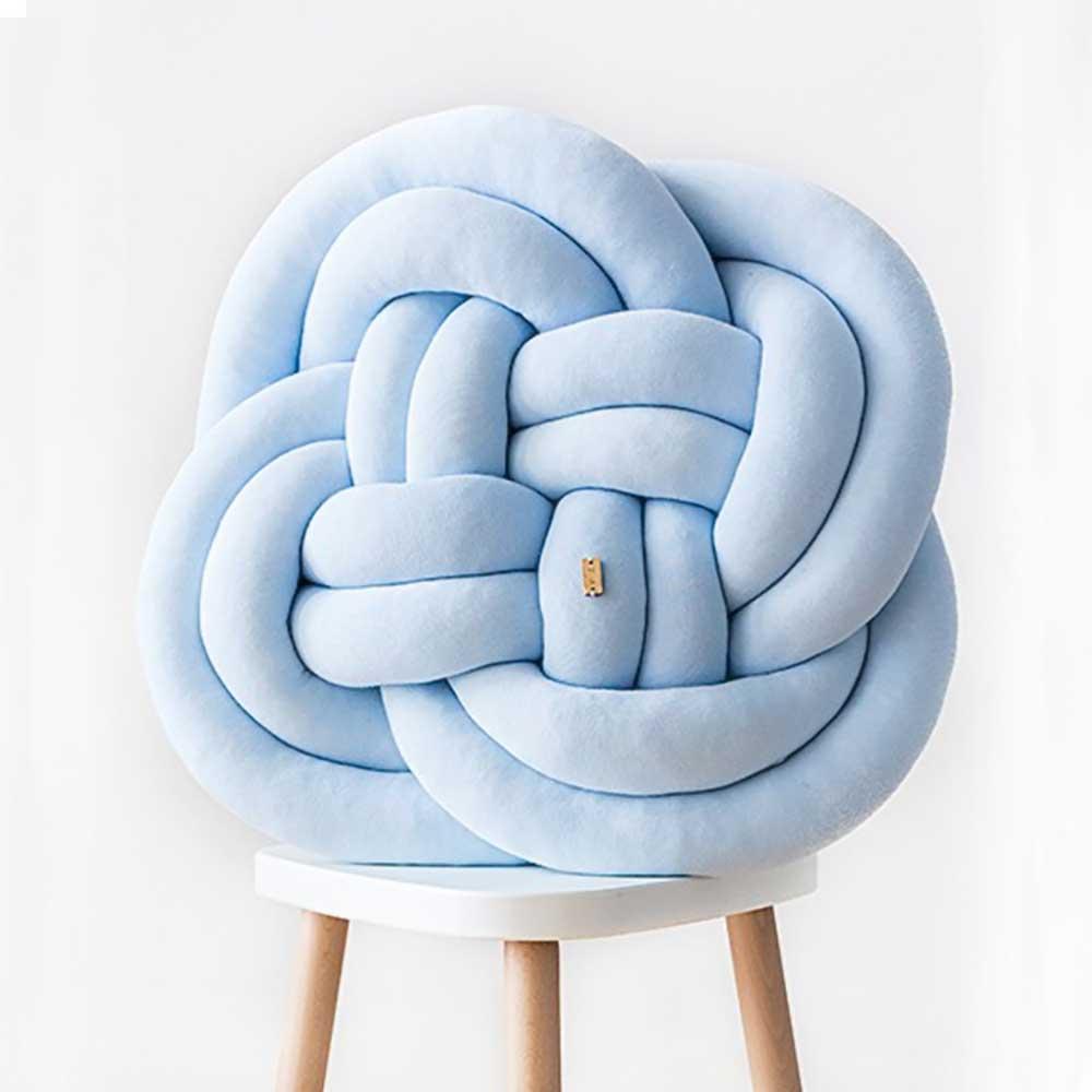 Wood'n'Wool|波蘭纏繞抱枕 - 花朵款(天空藍)