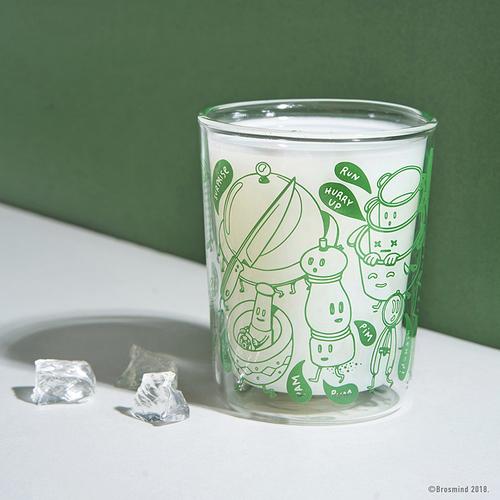 COZU|Brosmind 插畫雙層玻璃杯-綠