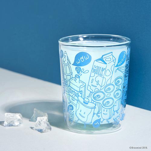 COZU|Brosmind 插畫雙層玻璃杯-藍