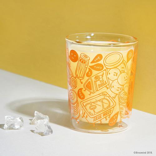 COZU|Brosmind 插畫雙層玻璃杯-橘