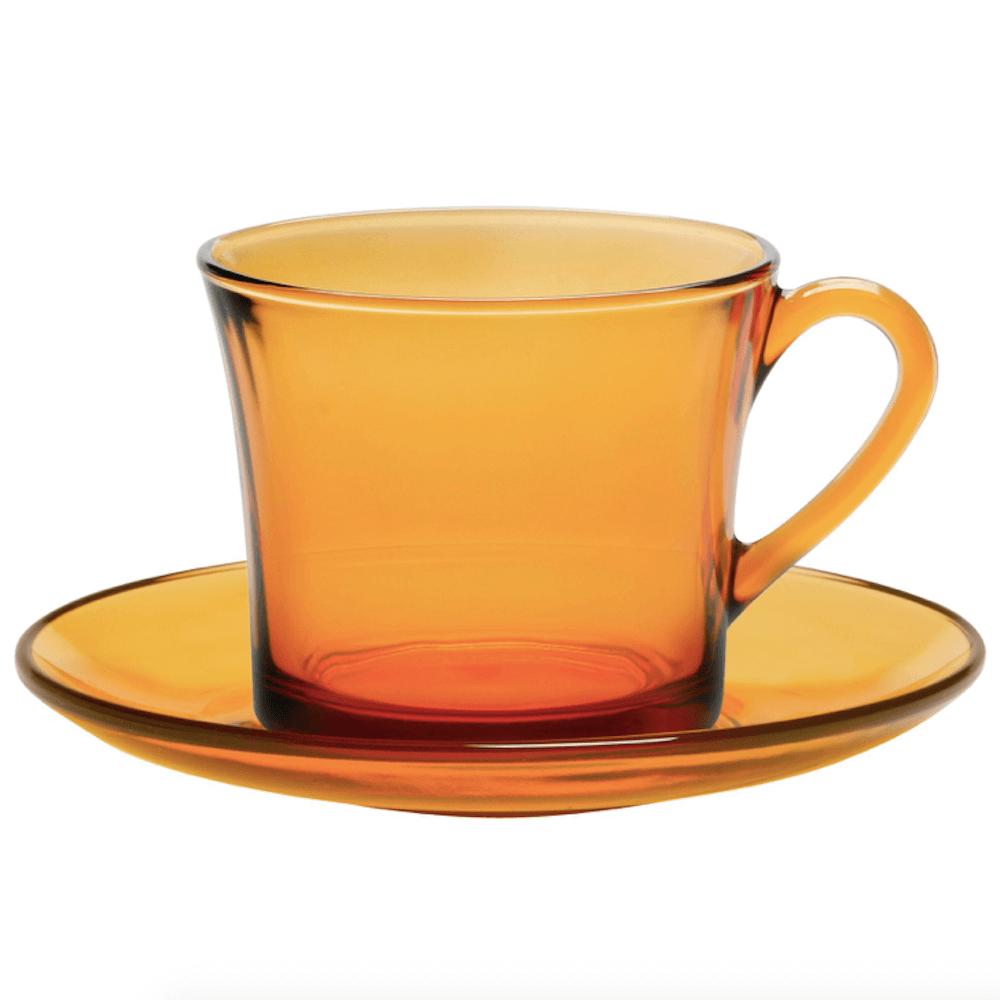 Duralex|法國強化玻璃咖啡杯盤組(180ml / 6入組 / 琥珀色)