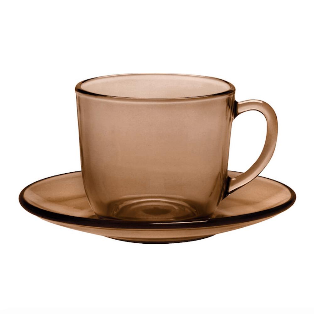 Duralex|法國強化玻璃咖啡杯盤組(220ml / 6入組 / 焦糖棕)