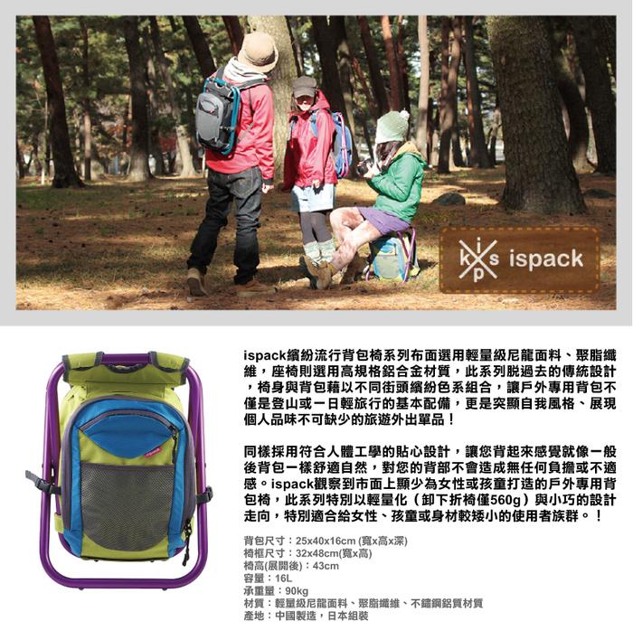 ispack|繽紛流行背包椅 - 萊姆/ 葡萄