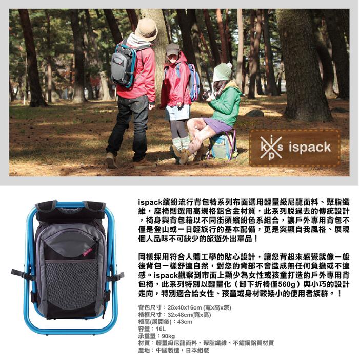 ispack|繽紛流行背包椅 - 灰黑/ 海藍