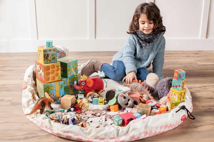 Play & Go|玩具整理袋 - 菱格粉