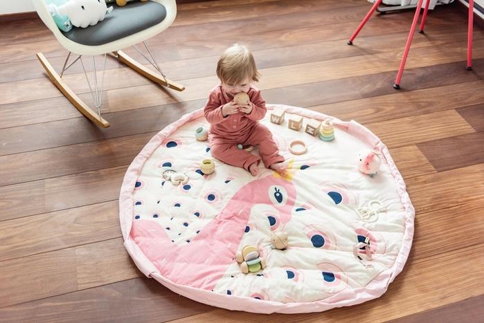 Play & Go|玩具整理袋-粉紅孔雀 (柔棉系列)