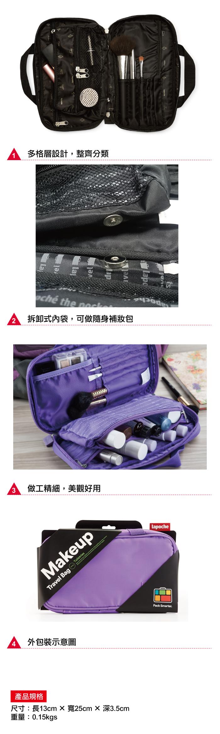 Lapoché 旅行化妝包-藍