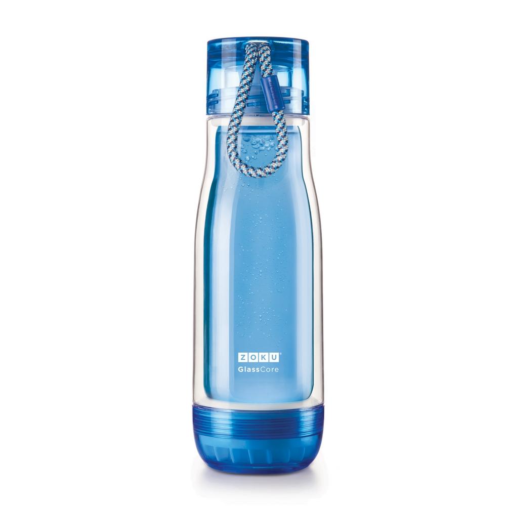 ZOKU 繽紛玻璃雙層隨身瓶(475ml) - 藍色