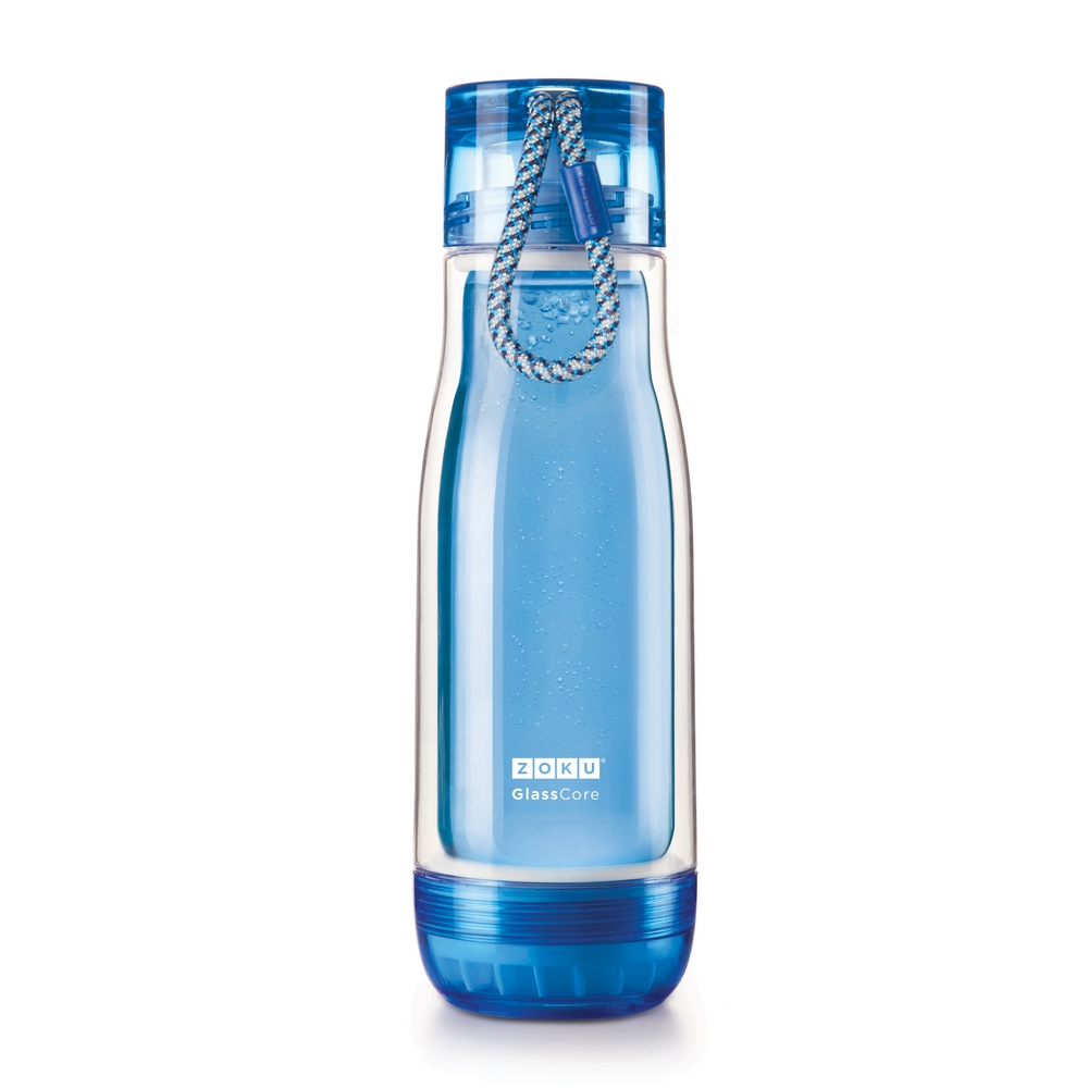 ZOKU|繽紛玻璃雙層隨身瓶(475ml) - 藍色