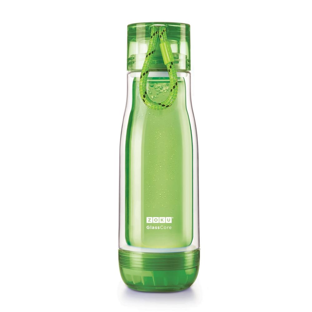 ZOKU 繽紛玻璃雙層隨身瓶(475ml) - 綠色