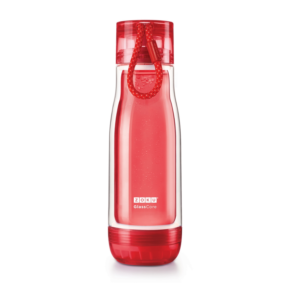 ZOKU 繽紛玻璃雙層隨身瓶(475ml) - 紅色