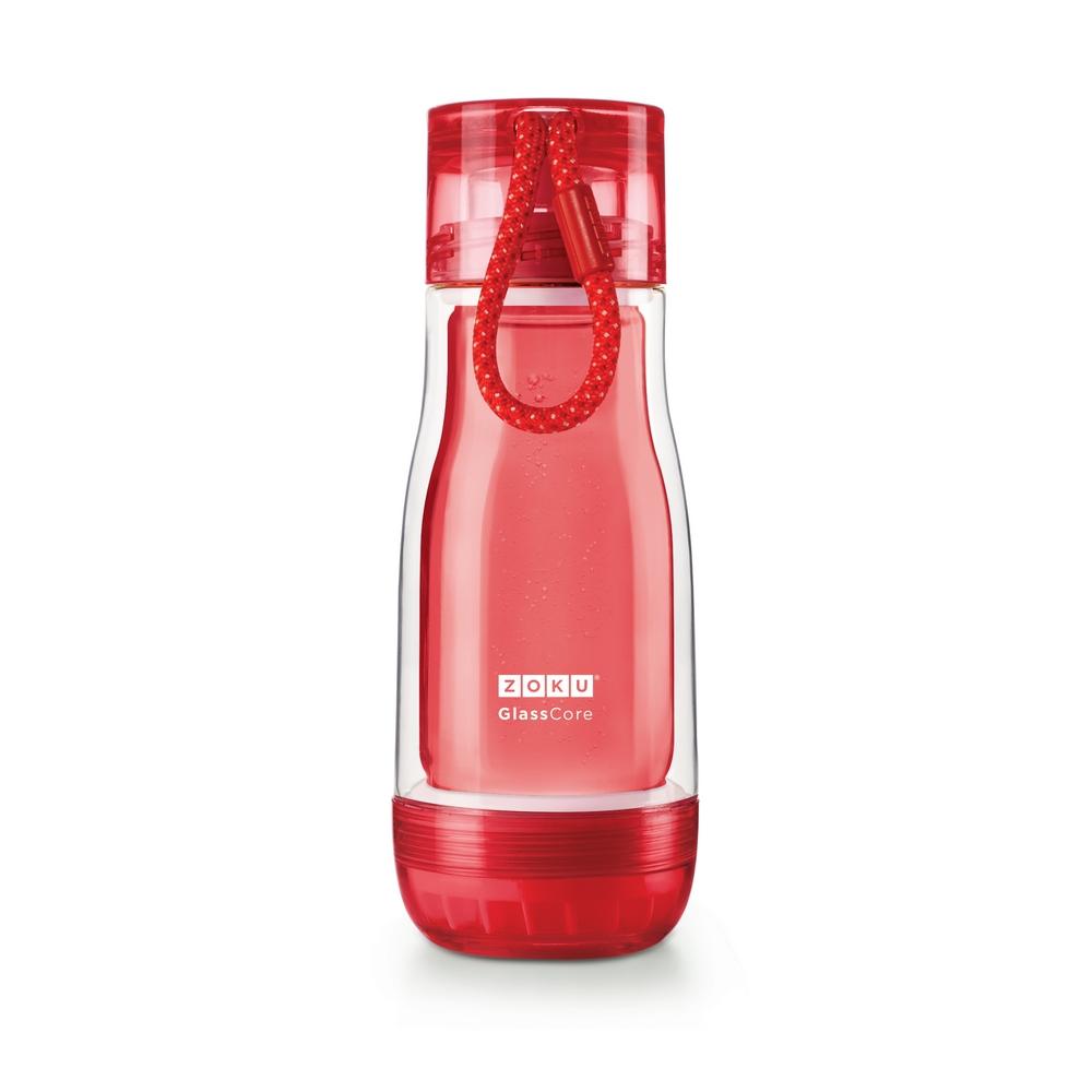 ZOKU 繽紛玻璃雙層隨身瓶(355ml) - 紅色