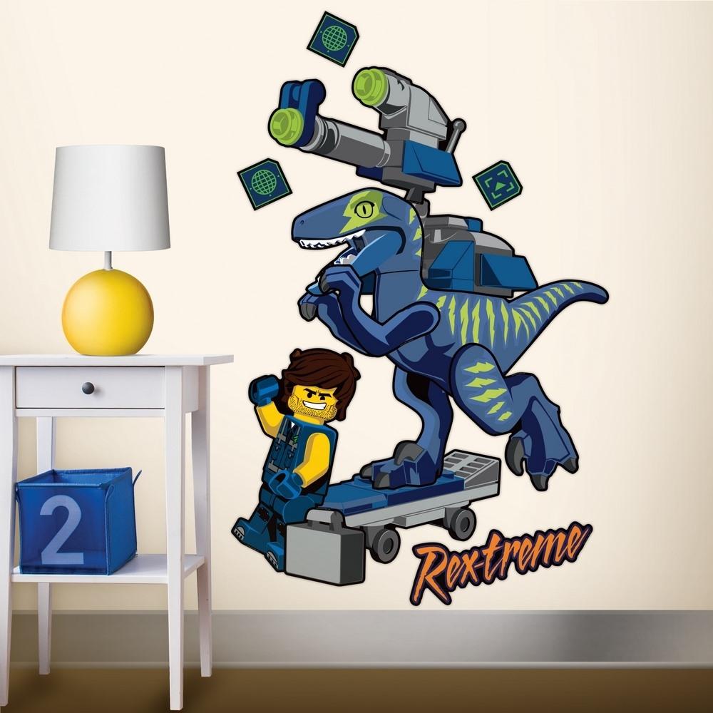 LEGO 拼圖靜電貼-雷克斯與迅猛龍