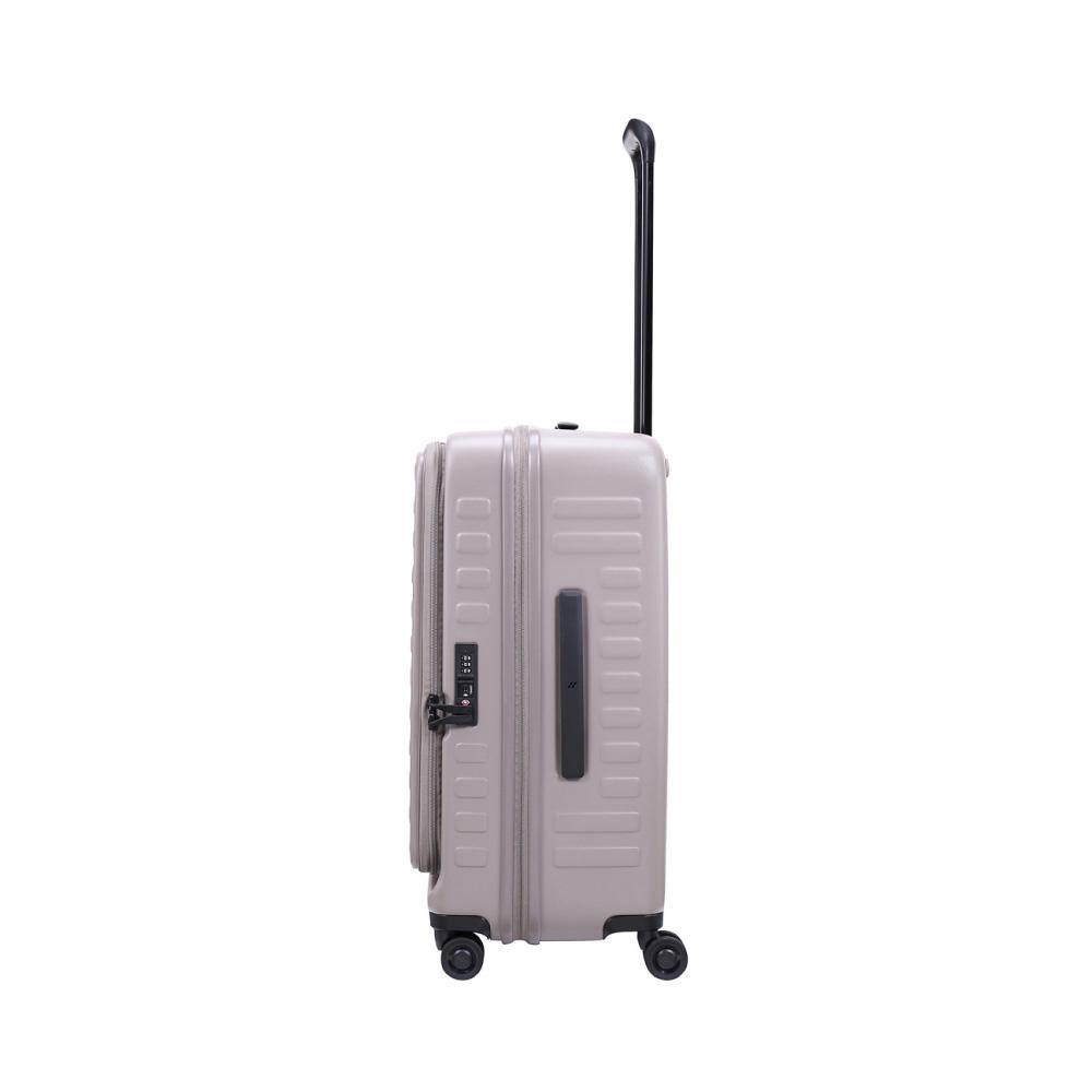 LOJEL|CUBO前開式可擴充 防盜拉鍊行李箱 26吋(限定色- 大地灰)