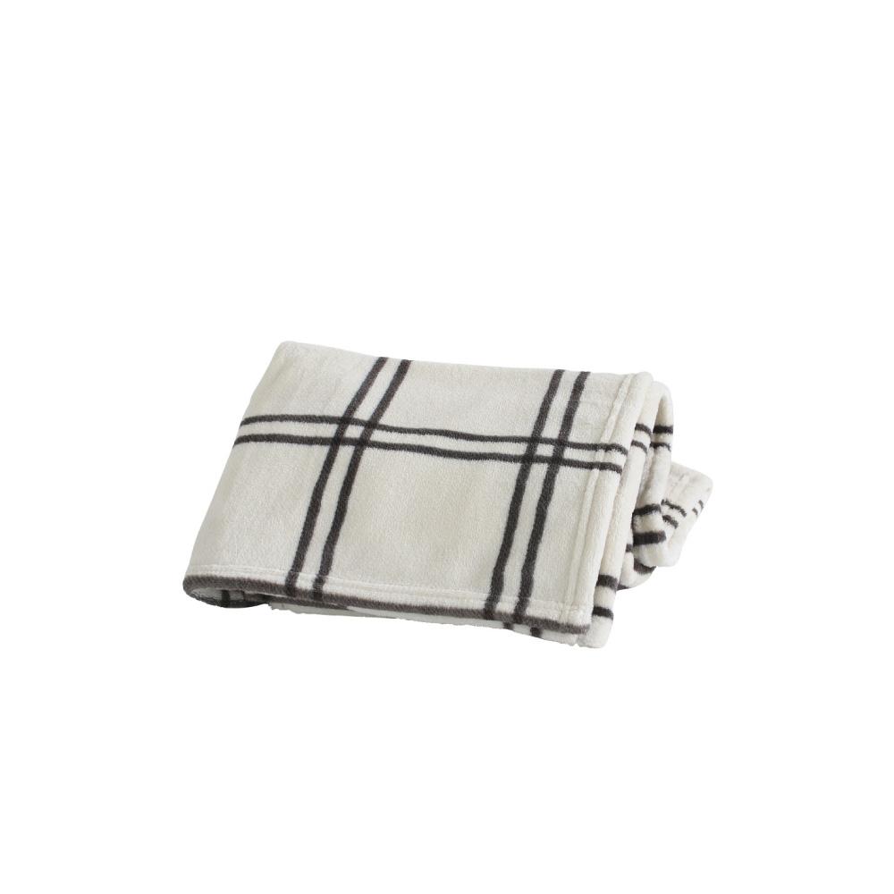 SPICE 日本進口鬆軟毛毯(小)-米色咖啡線條