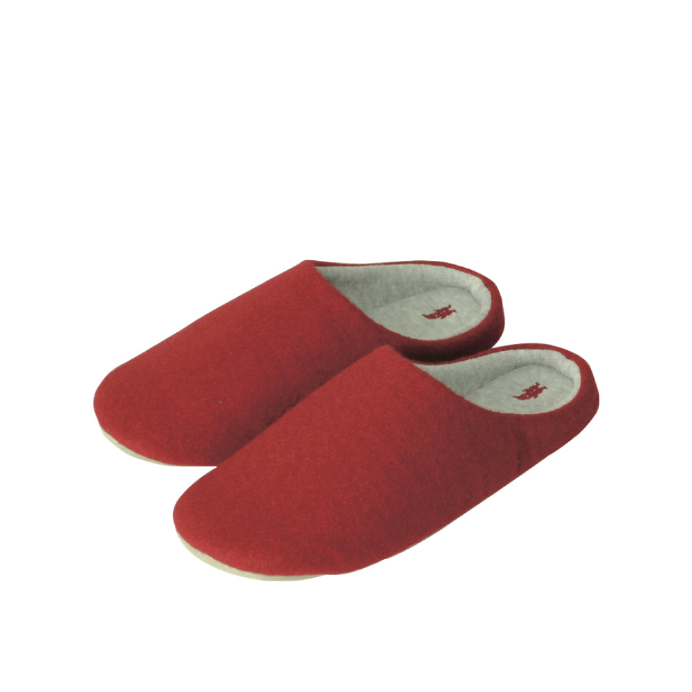 SPICE|日本進口羊毛氈室內拖鞋(S)(兒童用)-紅色