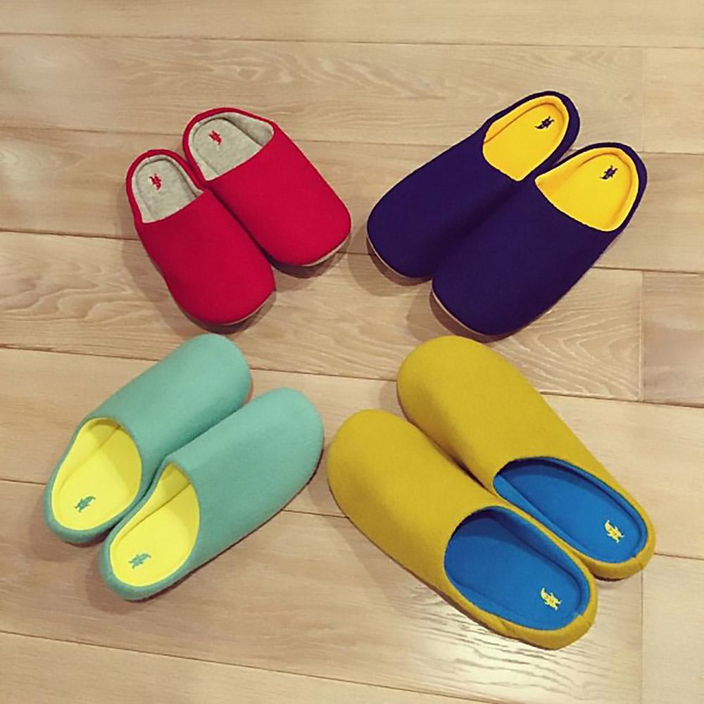 SPICE 日本進口羊毛氈室內拖鞋(M)(成人用)-深藍色