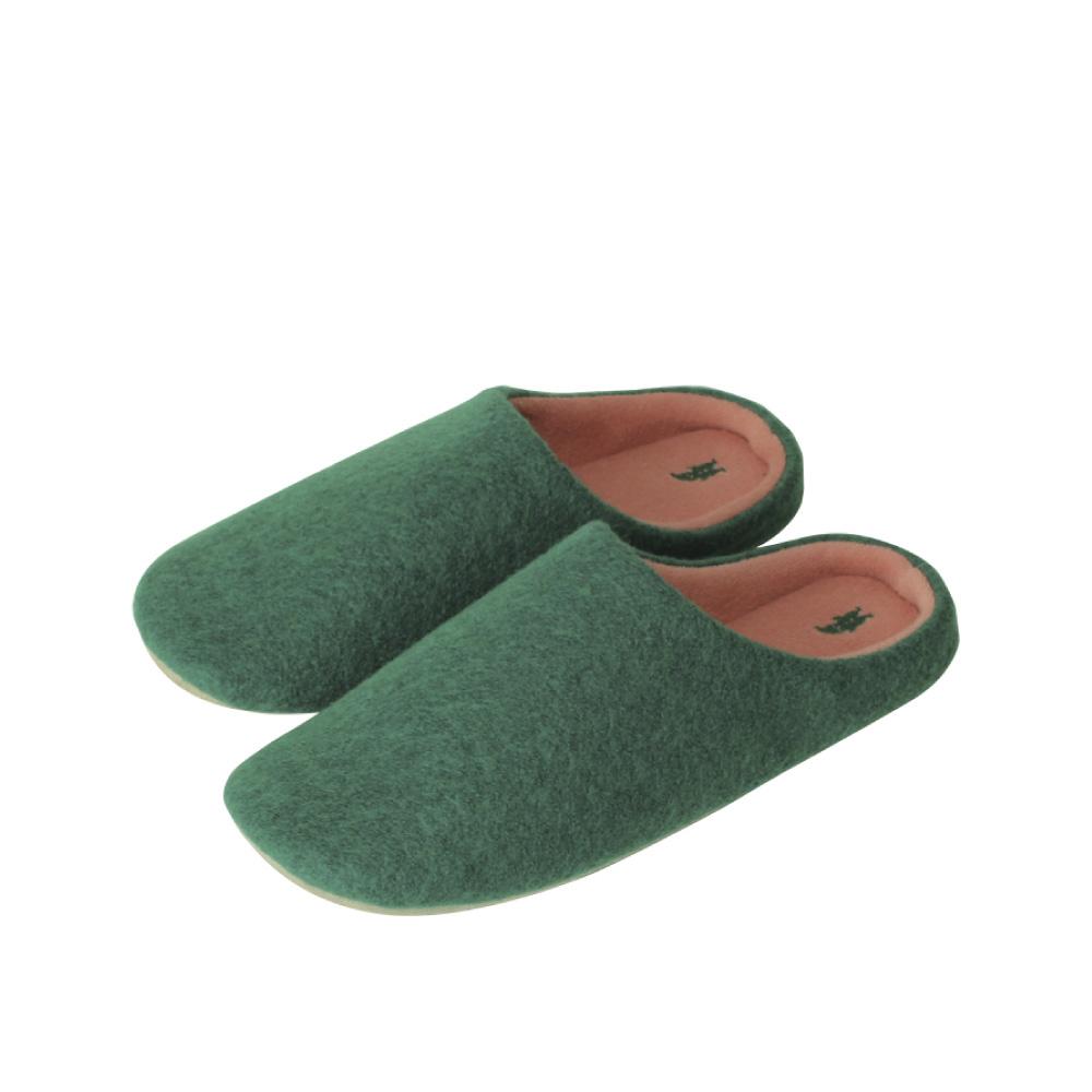 SPICE|日本進口羊毛氈室內拖鞋(M)(成人用)-深綠色
