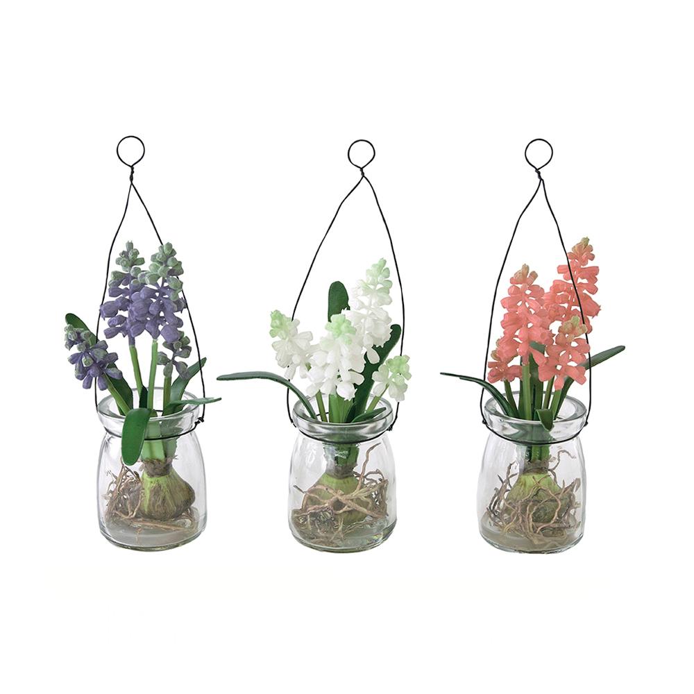 SPICE|日本超仿真野花玻璃瓶擺飾 3色組(可吊掛式)