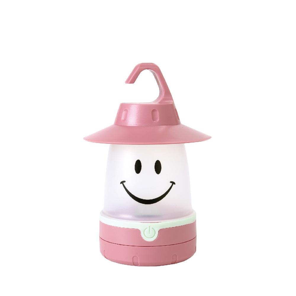 SPICE|日本戶外/室內兼用 微笑LED提/掛燈(露營燈)-蜜桃粉色
