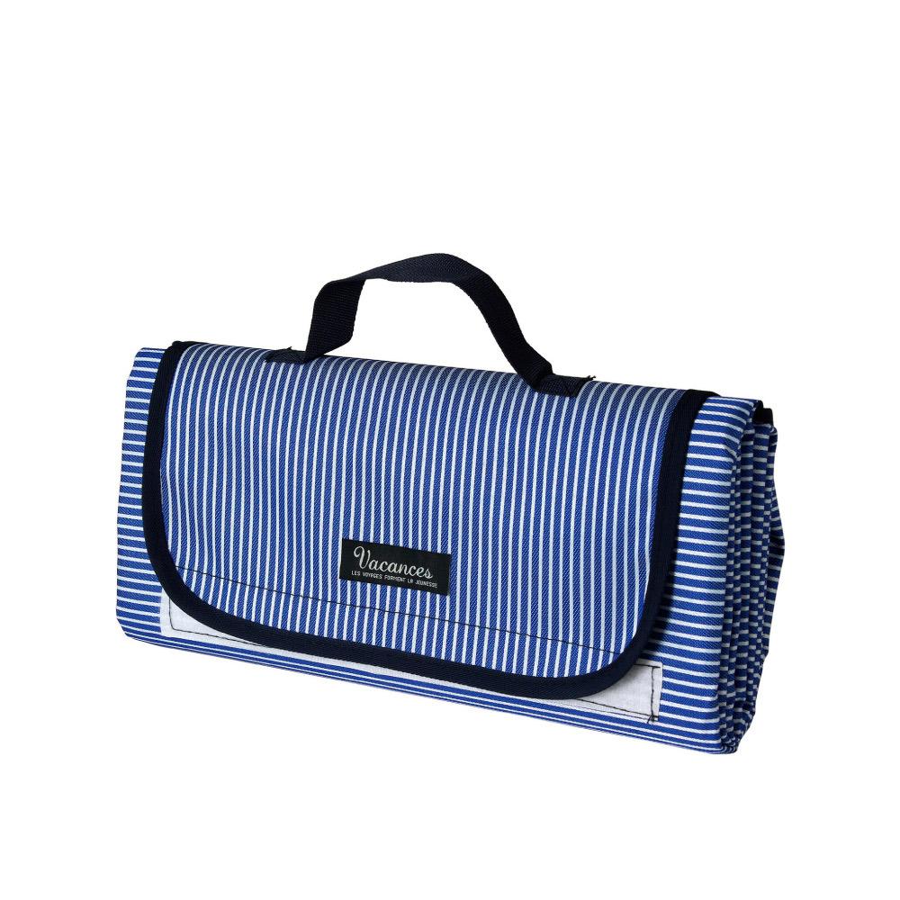 SPICE|背面防水 可收納手提 摺疊野餐墊-藍色條紋150x180cm