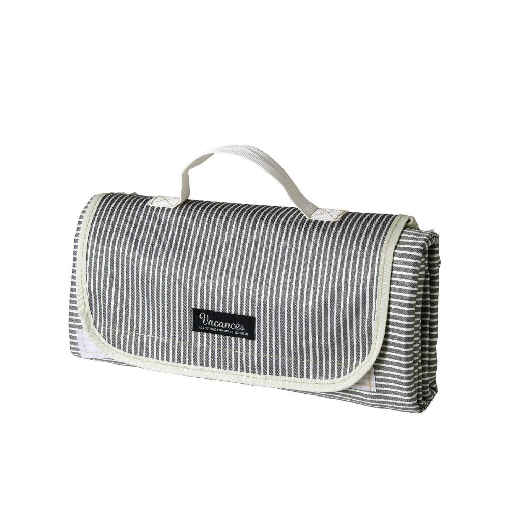 SPICE|背面防水 可收納手提 摺疊野餐墊-灰色條紋150x180cm