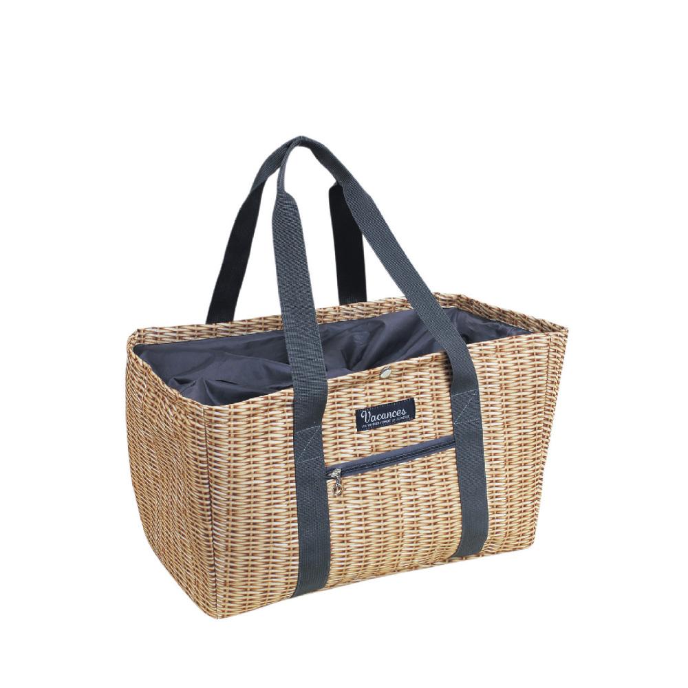 SPICE|日本總代理貨 立體保冷購物袋/野餐袋-淺色木藤紋