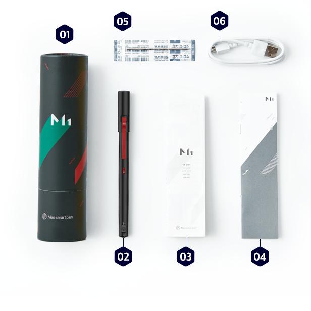 Neo smartpen 時尚粉藍筆記組(黑色)