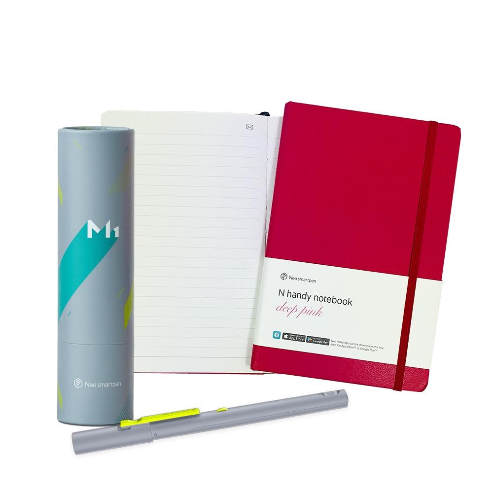 NeoLAB|Neo smartpen 時尚桃紅筆記組(灰色)