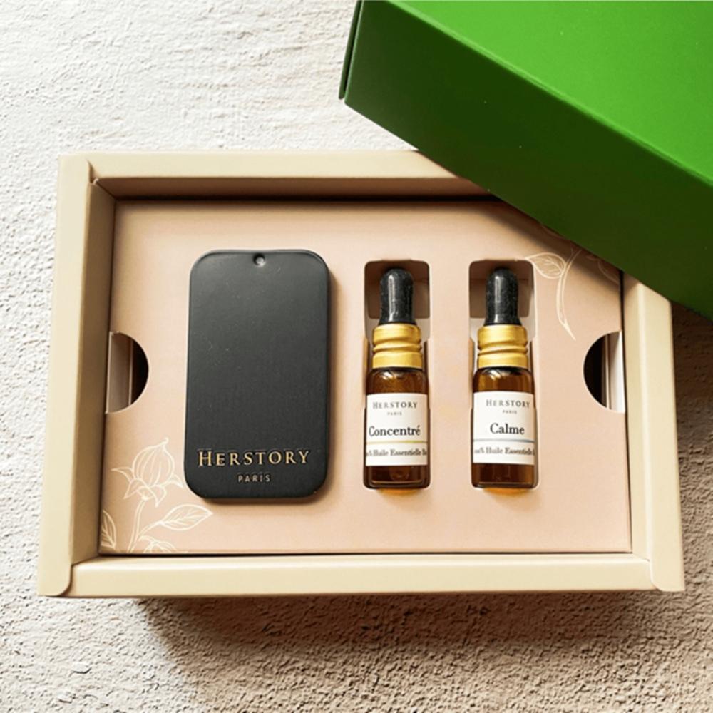 HERSTORY|法國擴香扣 天然防疫禮盒 - 石墨黑