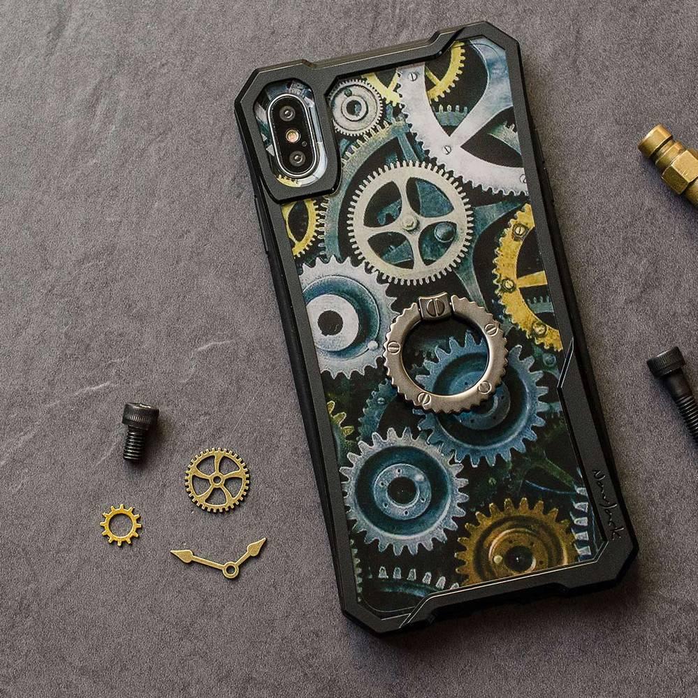NavJack|iPhone Xs Max (6.5吋) 齒輪站立指環保護殼
