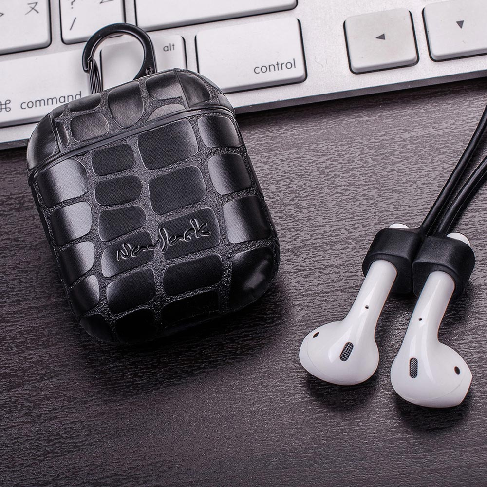 NavJack|AirPods 藍芽耳機保護殼│鱷魚黑