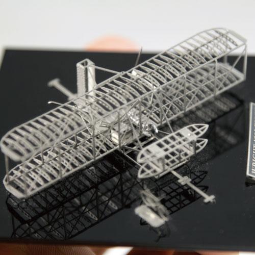 Aerobase 金屬模型組裝飛機Wright萊特兄弟飛行者1號鎳銀版模型(1/160)