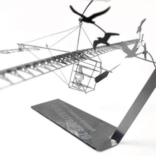 Aerobase|金屬模型組裝不鏽鋼The Albatross 79金屬高質感復古人力飛行機