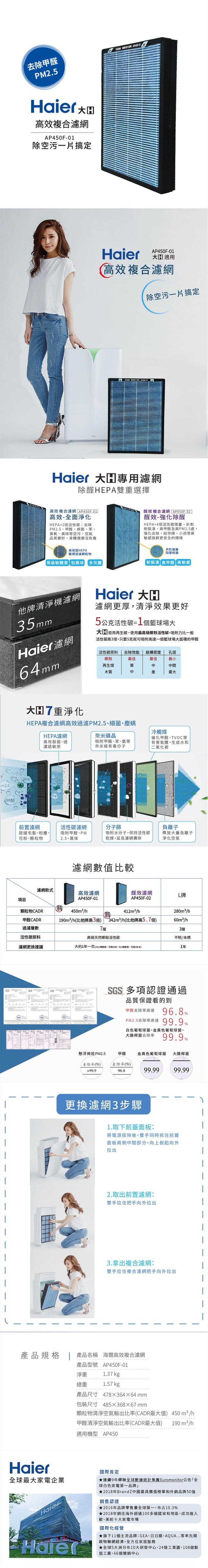 Haier|AP450F-01 大H高效複合濾網