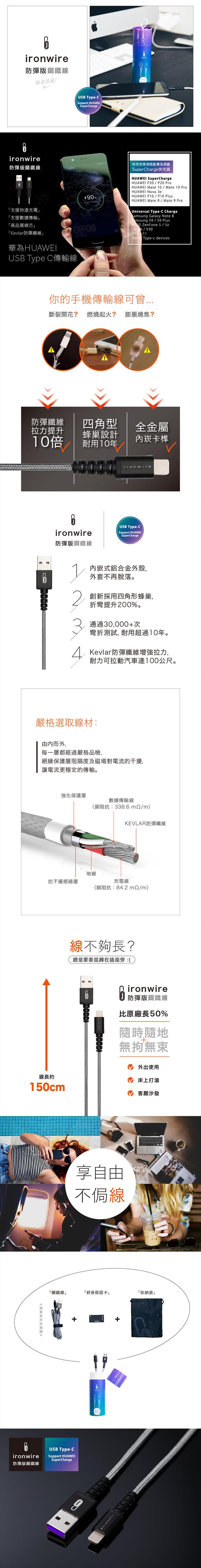 Ironwire|鋼鐵線 Type-C (150cm)